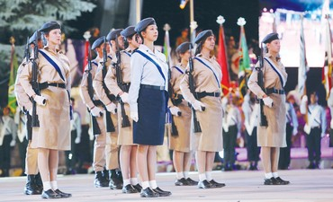 SOLDIERS STAND at attention during Monday night's Independence Day opening ceremony on Mount Herzl