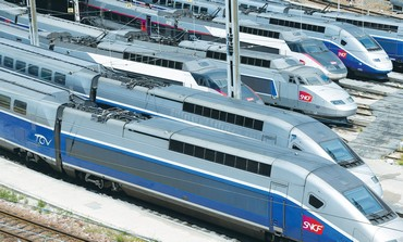 HIGH SPEED trains waiting at a siding in Spain. A new rail link to Ben-Gurion airport is being built