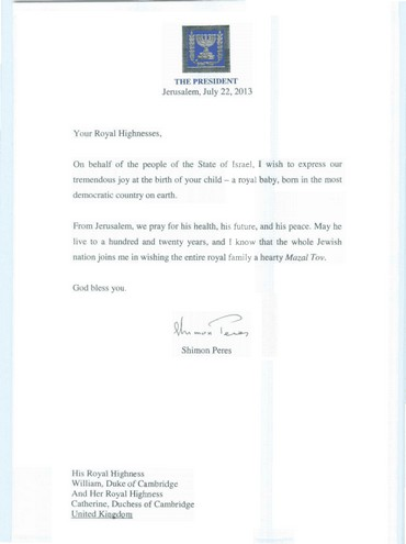 Letter sent to royal family from President Shimon Peres, 23 July, 2013.
