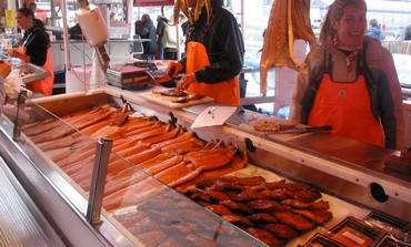 Salmon on display in Norway.