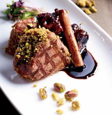 Beef fillet in pistachio crust and fig sauce  (Yasmin & Arie))
