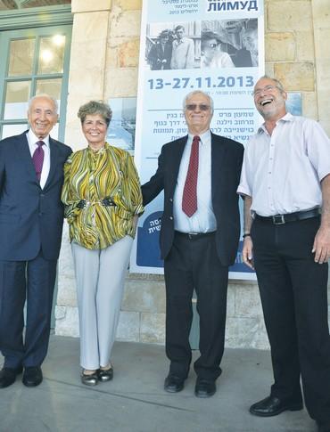 PRESIDENT SHIMON Peres, honorary Limmud FSU chairwoman Diane Wall, Limmud FSU founder Chaim Chesler and Limmud FSU board member Yoram Dori gather Thursday to kick off Jerusalem's Limmud FSU's Art Festival. Courtesy Nathan Roie