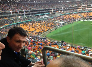 Knesset Speaker Yuli Edelstein at the memorial serivce for Nelson Mandela.
