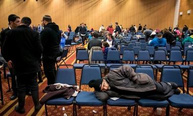 Makeshift shelter at the International Convention Center in Jerusalem.