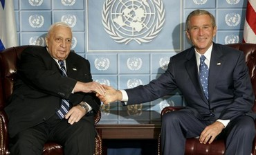 Ariel Sharon with former US president George W. Bush.
