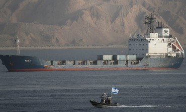 Israeli navy boat escorts Klos-C into Eilat port.