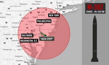 Rocket range superimposed on United States.