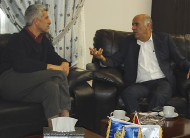 JIBRIL RAJOUB speaks to 'The Jerusalem Post's Mati Wagner in his office in al-Ram. (Courtesy)