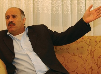RAJOUB, THEN West Bank Preventive Security Service chief, speaks in Ramallah in 2002. (Reuters)
