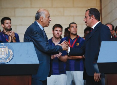 FC Barcelona team president Sandro Rosell (right) and Rajoub in his Bethlehem office last year. (Reuters)