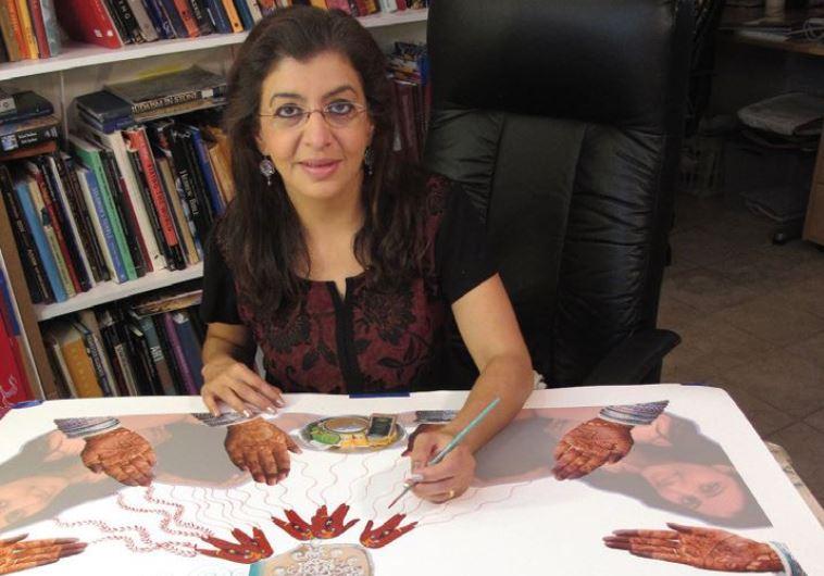 Siona Benjamin at work in her New York studio