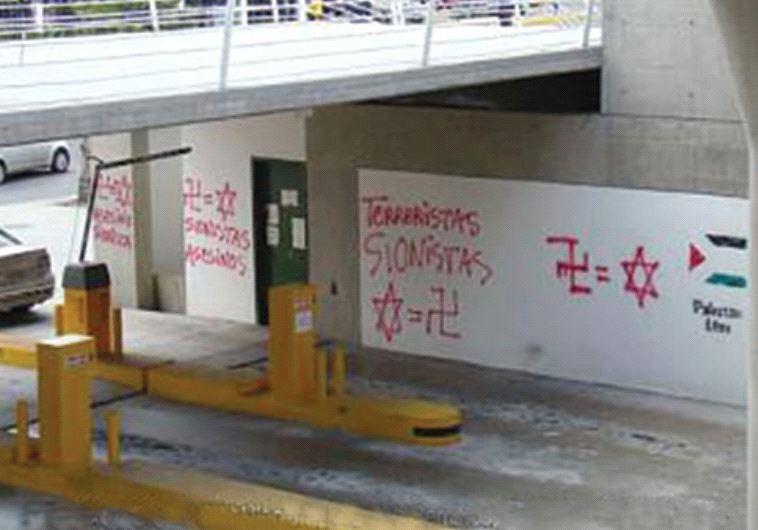 Anti-Semitic graffiti outside Caracas's main shopping centers (photo credit: HEBRAICA VENEZUELA)