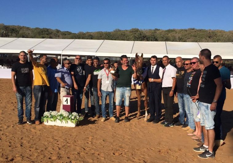"""Nabella Ajman"" a champion horse strikes a pose with her owners and trainers"