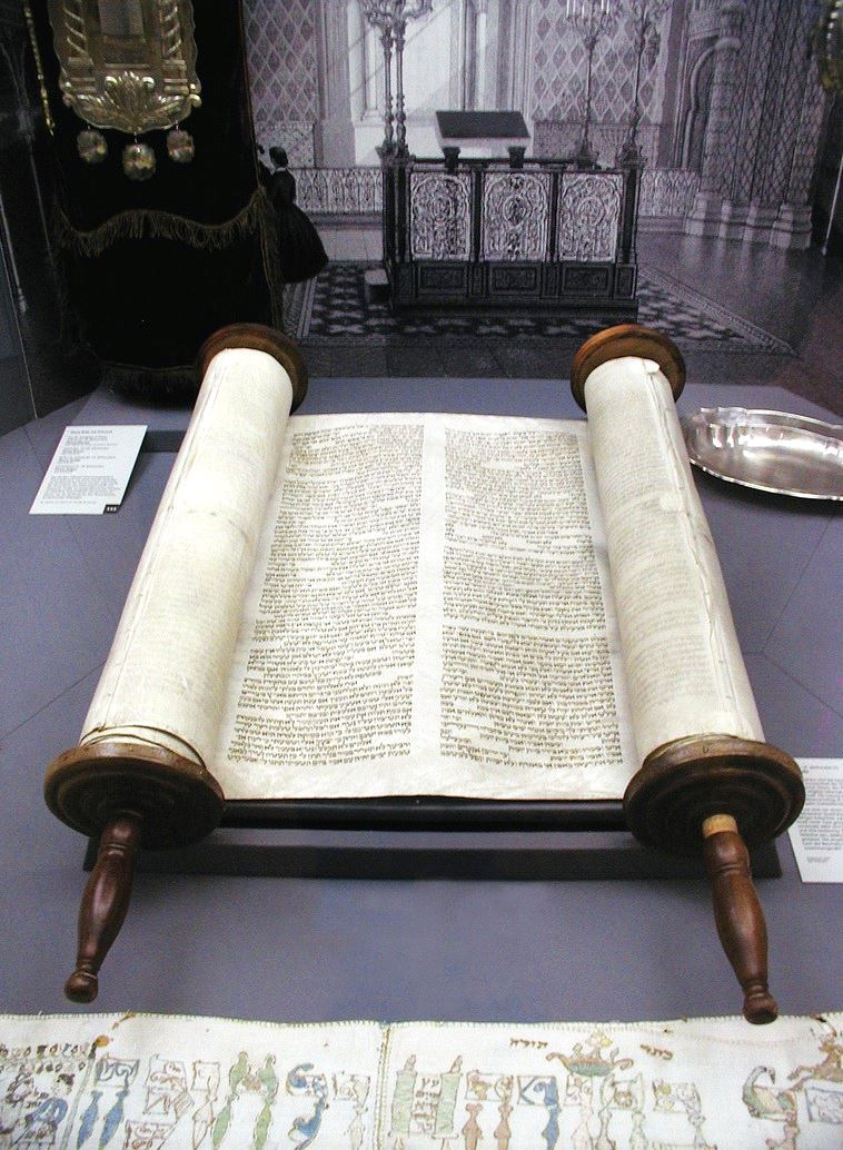 THE SEFER Torah on display at the old Glockengasse Synagogue in Cologne, Germany, ahead of its restoration. (Wikimedia Commons)