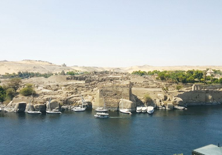 Feluccas drop anchor at Elephantine Island in Aswan (photo credit: BEN FISHER)
