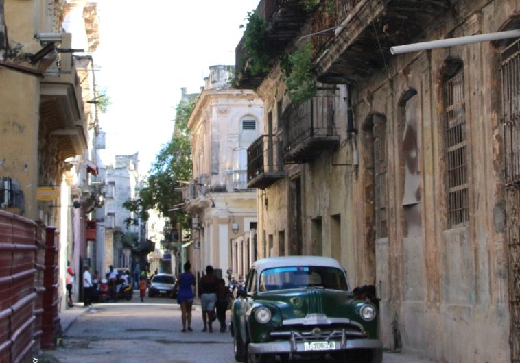 A view of Calle Inquisidor (Inquisitioner Street) in Old Havana, once a bustling street where many Jewish immigrants set up shops (photo credit: JUDITH SUDILOVSKY)