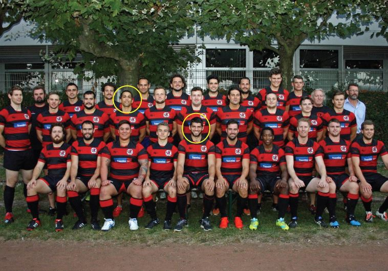 SC Frankfurt 1880 Rugby. Marked with circles are the two Israelis on the team: Uri Gail – center, and Mody Radashkovich – to his left (photo credit: SC FRANKFURT 1880 RUGBY'S WEBSITE)