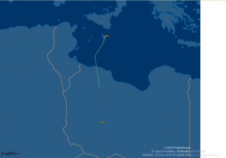 The aircraft's route from Sebha in Libya to Tripoli