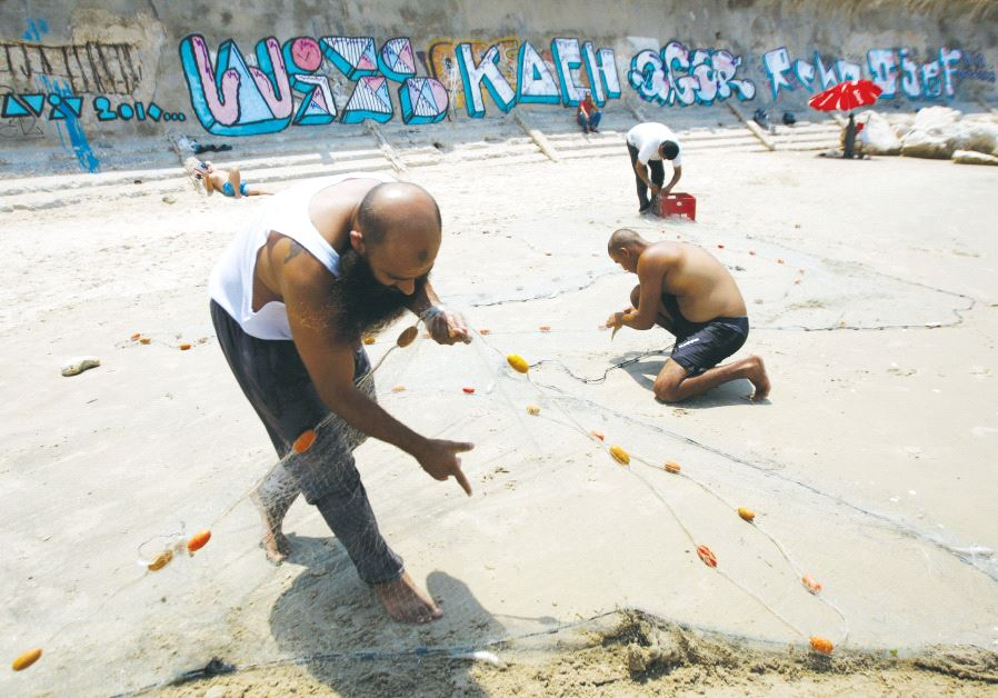 Men release fish from their net on a Tel Aviv-Jaffa beach (photo credit: REUTERS)