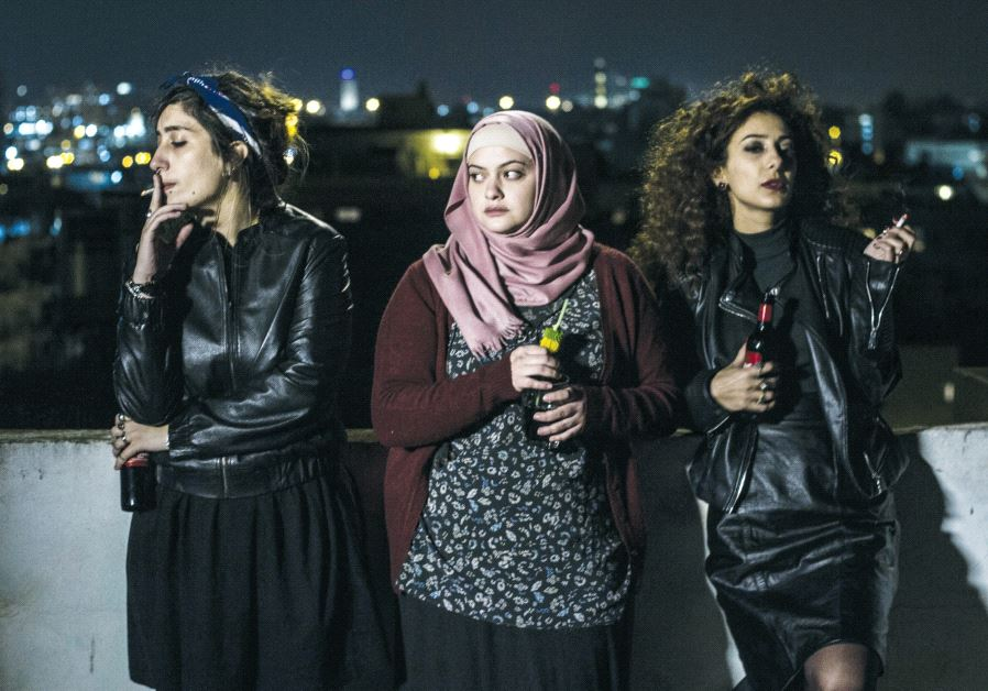 From left: Actresses Sana Jammelieh (as Salma), Shaden Kanboura (as Noor) and Mouna Hawa (as Leila), in one of the film's closing scenes