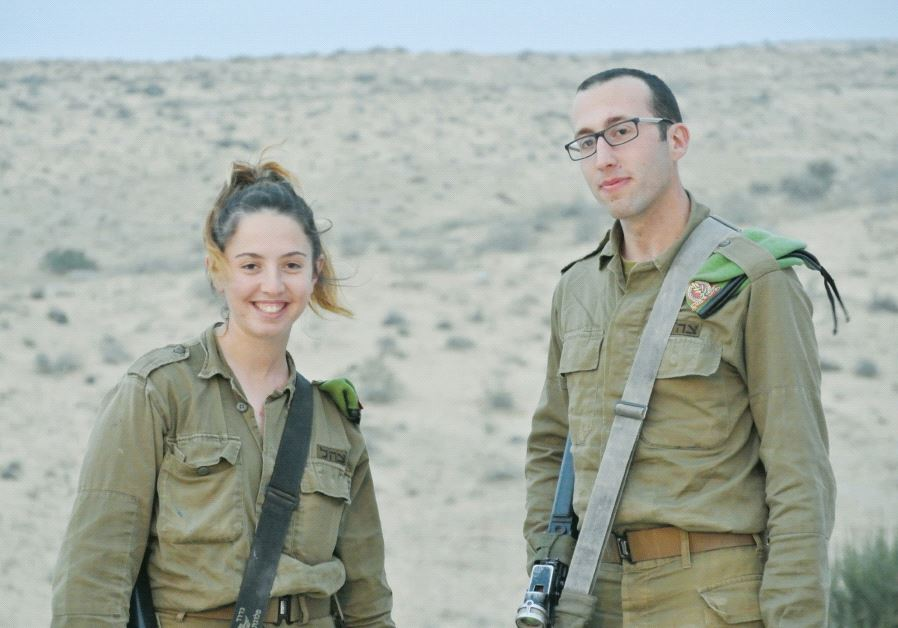 Orna Weinstein and Jason Sneag, members of the Caracal unit, near the border with Egypt (credit: Seth J. Frantzman)