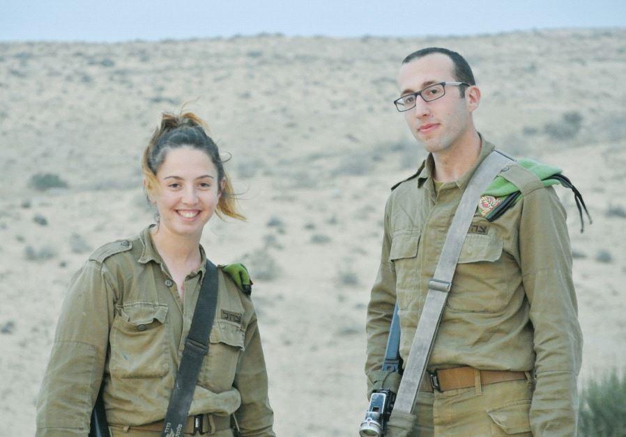 Orna Weinstein and Jason Sneag, members of the Caracal unit, near the border with Egypt (credit: Seth J. Frantzman)