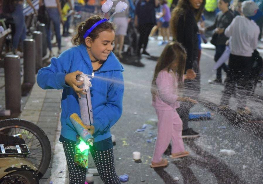 Children celebrate Independence Day at Tel Aviv's Rabin Square.