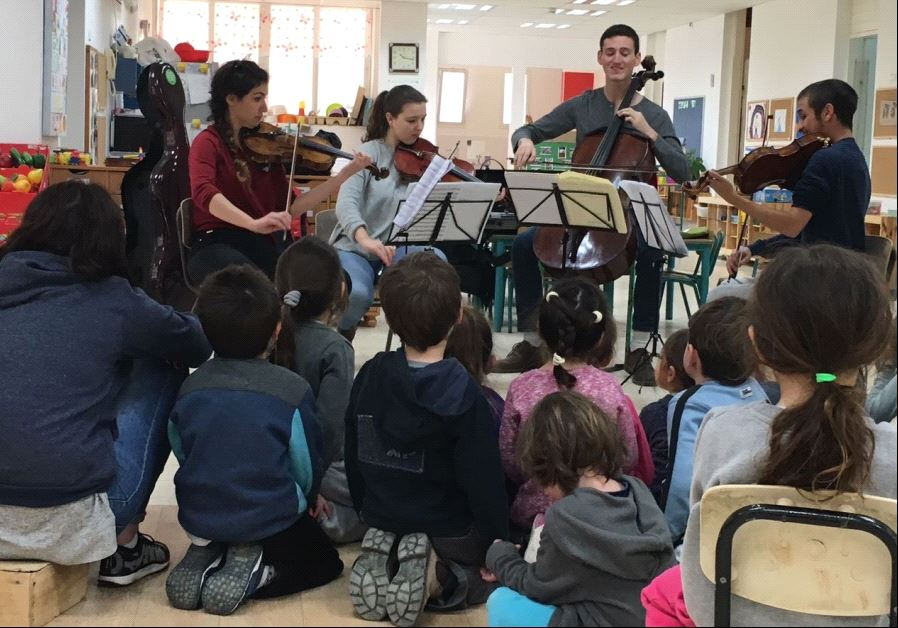 Musethica musicians play in front of a group of kindergarten children in Kibbutz Ramot Menashe in the North (credit: MUSETHICA)