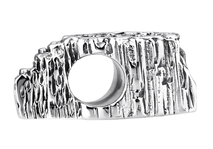 The incredibly detailed and exquisite Masada charm, depicting Masada in deeply ridged silver is a stand-out of Israeli design innovation.