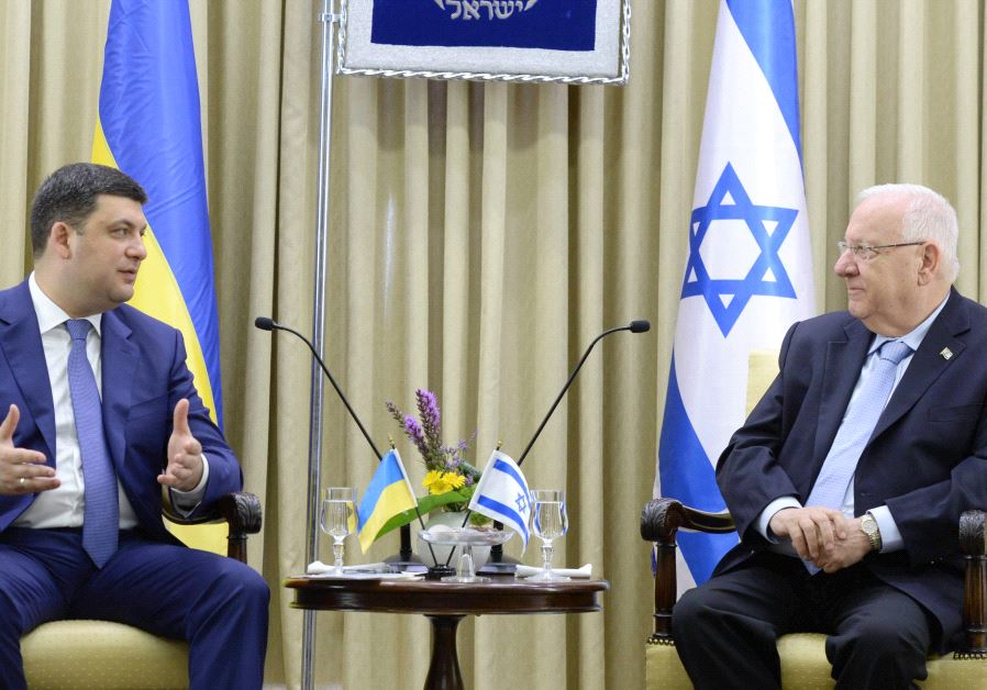 President Reuben Rivlin meets Ukrainian Prime Minister Volodymyr Groysman in Jerusalem, May 15 2017. (Mark Neiman/GPO)