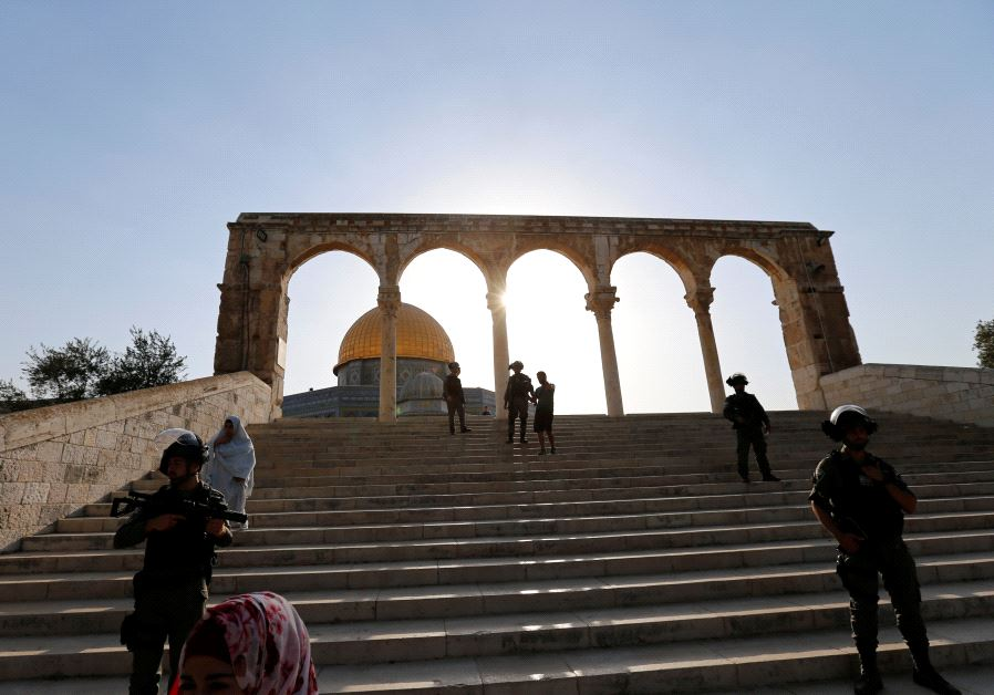 Israeli security forces stand at the compound known to Muslims as Noble Sanctuary and to Jews as Temple Mount, after Israel removed all security measures it had installed at the compound, and Palestinians entered the compound in Jerusalem's Old City July 27, 2017. (Reuters)