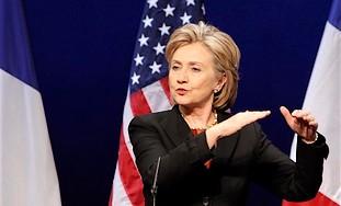 US Secretary of State Hillary Rodham Clinton gestu
