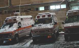 Magen David ambulances in the snow.