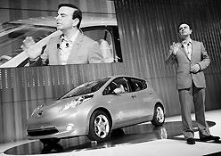 Nissan CEO Carlos Ghosn introduces the Leaf in Yok