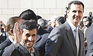Syrian President Bashar Assad with his Iranian cou
