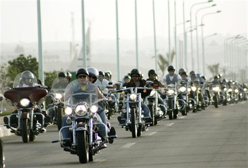 Hundreds of Harley Davidson motorcycle enthusiasts