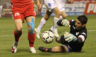 Hapoel Tel Aviv striker Bojan Vrucina goes for the