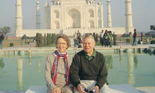 Suzanne Singer and her husband at the Taj Mahal.