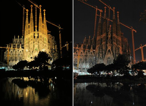 This combination photo shows Antoni Gaudi's La Sag