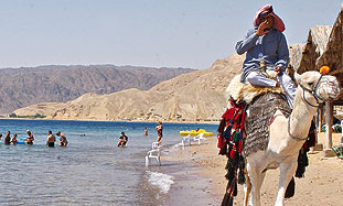 A Beduin man rides a camel on Sinai beach.