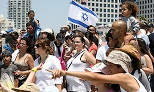 Israelis celebrating Independence Day in Tel Aviv,
