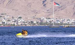 Eilat, with Jordanian Aqaba in the background.