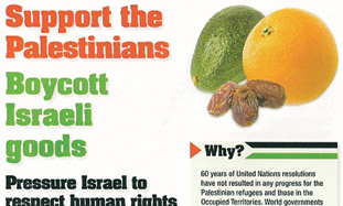 'Support the Palestinians - boycott Israeli goods.