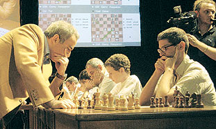 Gary Kasparov in Tel Aviv yesterday.