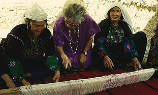 Ruth Dayan (center) with Beduin women.