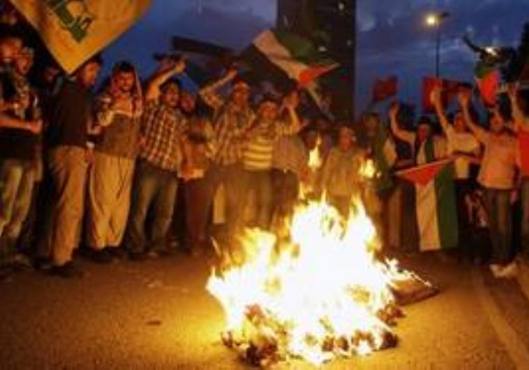Protesters burn a representation of former prime m