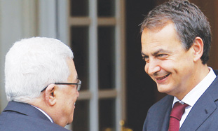 Luis Rodriguez Zapatero and Mahmoud Abbas