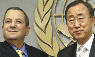 File photo: Defense Minister Ehud Barak with UN SECRETARY-GENERAL Ban Ki-moon