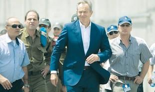 Blair at Gaza crossing