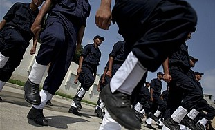 Hamas police cadets march in Gaza.